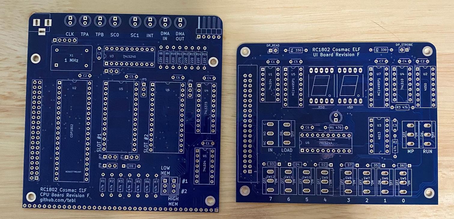 RC 1802 Elf Project Boards